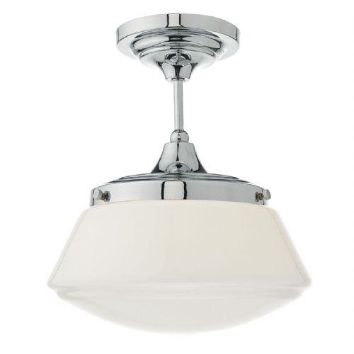 Caden 1 Light Semi Flush Polished Chrome/ Opal IP44